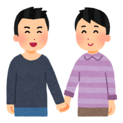 男性、カップル、手を繋ぐ